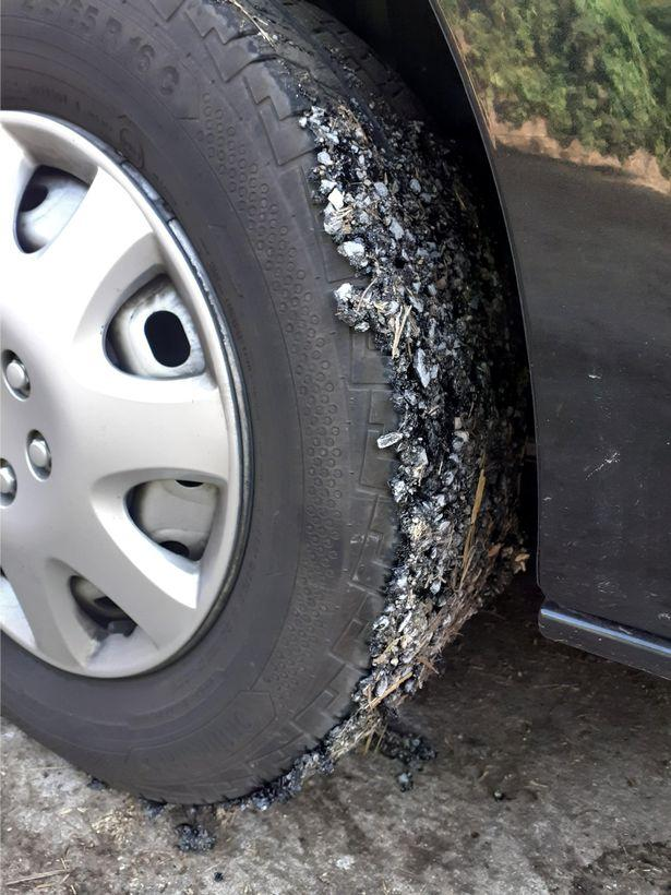 """Louise said: """"Both passenger-side tyres were completely covered in melted Tarmac"""""""